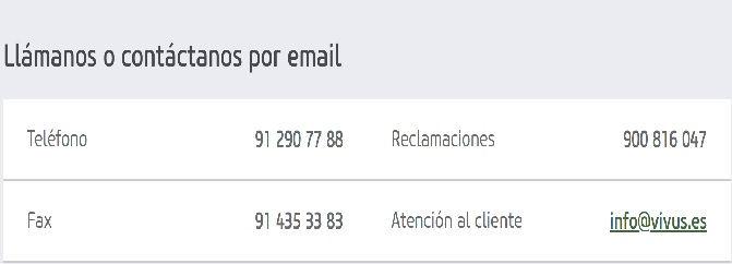 Telefono atencion al cliente Vivus